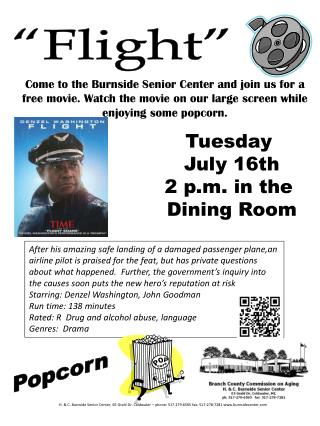 Tuesday July 16th 2 p.m. in the Dining Room