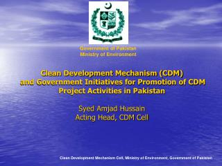 Clean Development Mechanism Cell, Ministry of Environment, Government of Pakistan