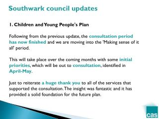 1. Children  and Young People's Plan