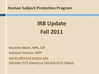 Human Subject Protection Program