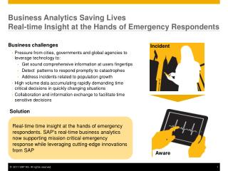 Business Analytics Saving Lives Real-time Insight at the Hands of Emergency Respondents