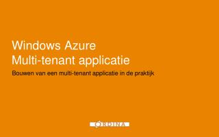 Windows Azure Multi-tenant applicatie