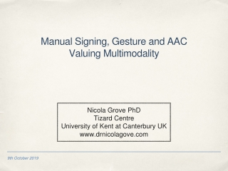 Manual Signing, Gesture and AAC Valuing Multimodality