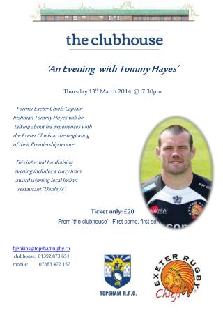 ' An Evening  with Tommy Hayes' Thursday 13 th  March 2014  @  7.30pm
