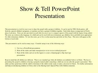 Show  Tell PowerPoint Presentation