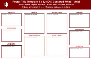 Poster Title Template 4  x  6,  (50%) Centered White –  Arial