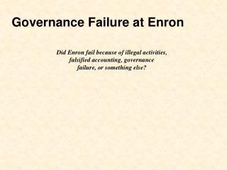 Governance Failure at Enron