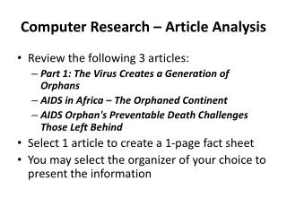 Computer  Research – Article Analysis