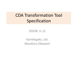 CDA Transformation Tool Specification