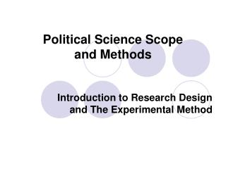 Political Science Scope and Methods