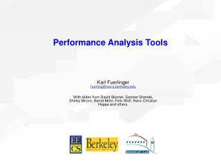 Performance Analysis Tools