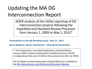 Updating the MA DG Interconnection Report