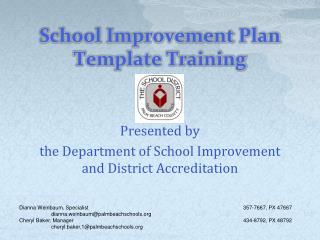 School Improvement Plan Template Training