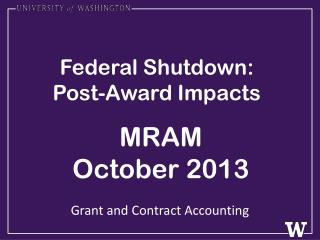 Federal Shutdown: Post-Award Impacts