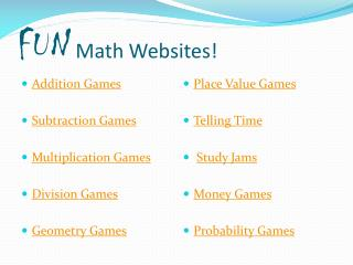 FUN  Math Websites!