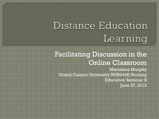 Distance Education Learning