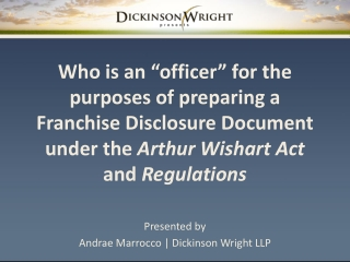 Presented by Andrae Marrocco | Dickinson Wright LLP