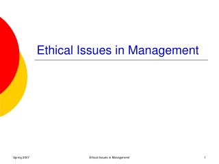Ethical Issues in Management