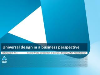 Universal design in a business perspective
