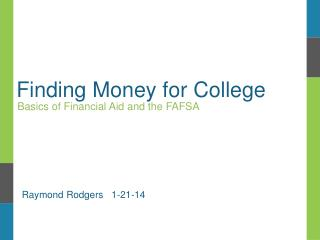 Finding Money for College