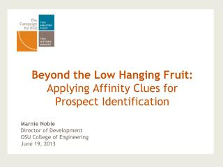Beyond the Low Hanging Fruit:  Applying Affinity Clues for  Prospect Identification