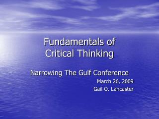 Fundamentals of Critical Thinking