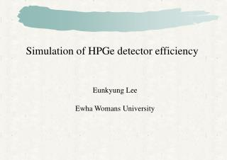 Simulation of HPGe detector efficiency