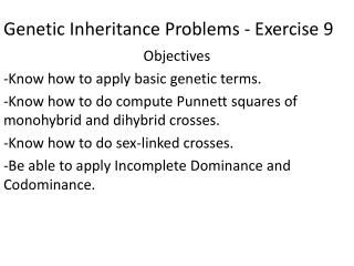 Genetic Inheritance Problems - Exercise 9