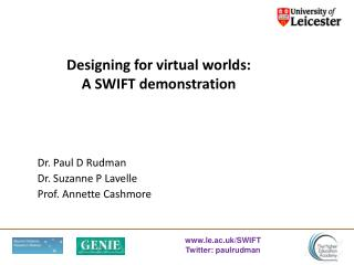 Designing for virtual worlds: A SWIFT demonstration
