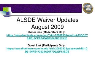 ALSDE Waiver Updates August 2009