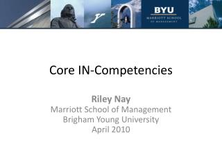 Core IN-Competencies