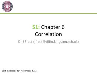 S1:  Chapter 6 Correlation