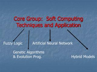 Core Group:  Soft Computing Techniques and Application