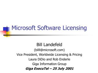 Microsoft Software Licensing