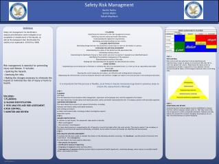 Safety risk management: the identification, analysis and elimination (and/or mitigation to an