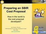 Preparing an SBIR Cost Proposal