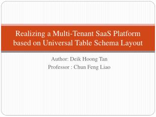 Realizing a Multi-Tenant SaaS Platform based on Universal Table Schema Layout