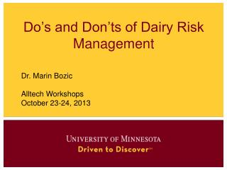 Do's and Don'ts of Dairy Risk Management