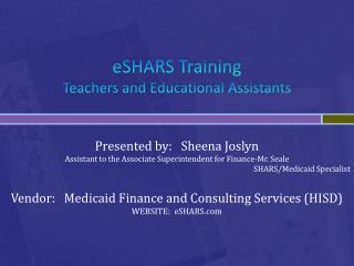 eSHARS Training Teachers and Educational Assistants