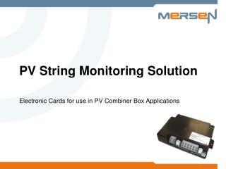 PV String Monitoring Solution