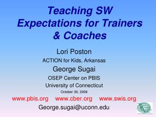 Teaching SW Expectations for Trainers & Coaches