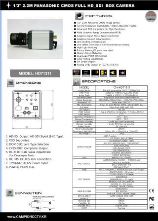"1/3"" 2.2M PANASONIC CMOS FULL HD_SDI BOX CAMERA"