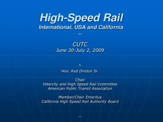 High-Speed Rail International, USA and California