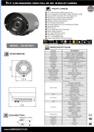 """1/3"""" 2.2M PANASONIC CMOS FULL HD_SDI IR BULLET CAMERA"""