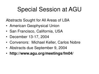 Special Session at AGU