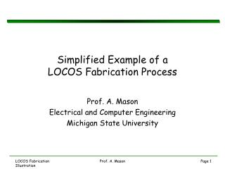 Simplified Example of a LOCOS Fabrication Process