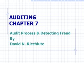AUDITING CHAPTER 7