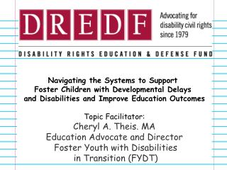 Navigating the Systems to Support  Foster Children with Developmental Delays  and Disabilities and Improve Education Out