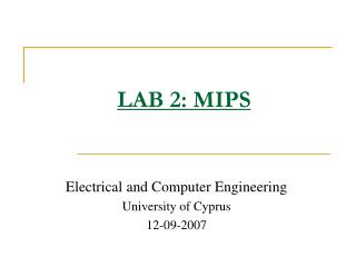 LAB 2: MIPS