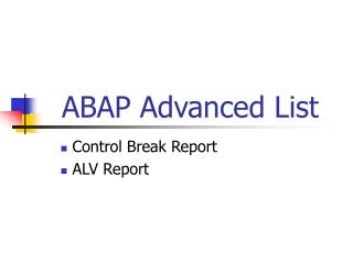ABAP Advanced List